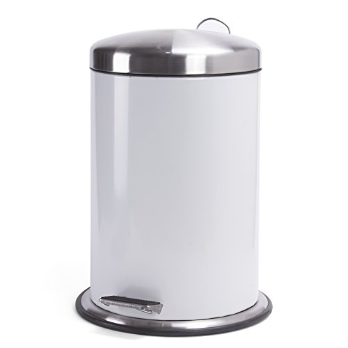 Pedal Bin Liners - MSV Stainless Steel Pedal Bin with Lid, Silver, 3 Litre