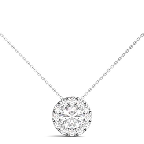 Diamond Pendant Multi Circle - Diamond Studs Forever 14K White Gold Diamond Halo Slide Pendant (1.00 Ctw, IGI USA Certified GH/I1)