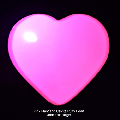 (Charged Fluorescent Pink Mangano Calcite Crystal Pocket Puffy Heart/Palm Stone Very GROUNDING & Protective Reiki Healing Energy (Heart Palm Stone))