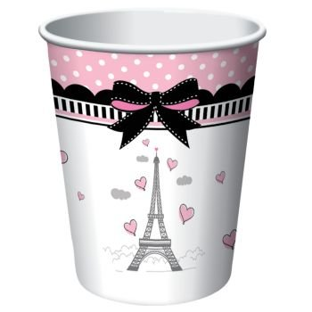 Party in Paris 9oz Hot/Cold Cups 8 Per Pack