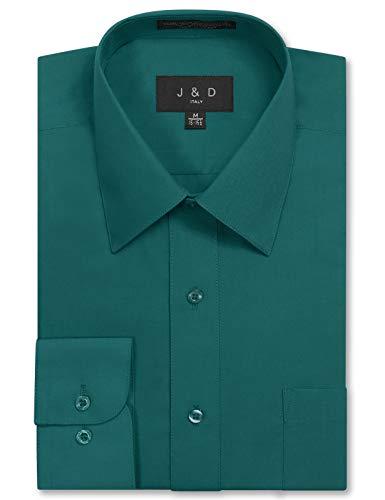 (JD Apparel Mens Long Sleeve Regular Fit Solid Dress Shirt 18-18.5 N 36-37 S Teal,XX-Large)