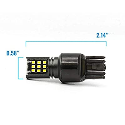 LED 6000K White Reverse/Backup Brake/Stop Turn Signal Parking DRL High Power Light Bulbs (7443, White): Automotive