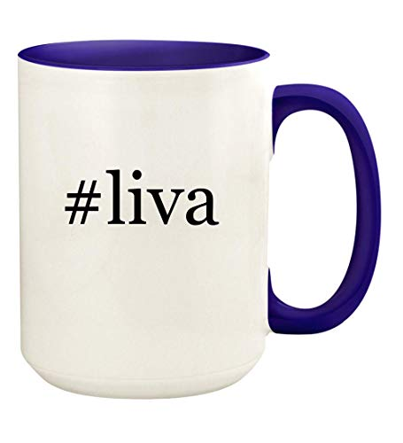 - #liva - 15oz Hashtag Ceramic Colored Handle and Inside Coffee Mug Cup, Deep Purple