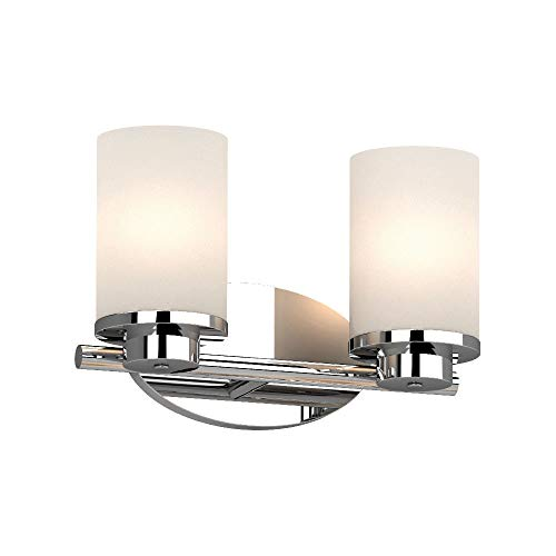 "Volume Lighting 1162-3 Sharyn 2 Light 13"" Wide Vanity Light with Frosted Glass Cylinder Shades"