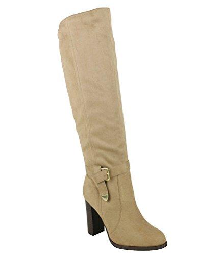 Jacob Black Beige Suede knee High Boots Block High Heel Women's shoes beige - Boots Mark Jacobs