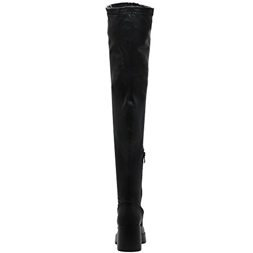Shoe Boots high Stretch Suede Thigh pu Faux Up Platform Faux Ollio Women Black Span or Leather Zip Long ZqtPT5wx