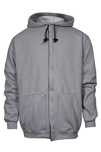 National Safety Apparel C21IG05SM FR Hooded Zip Front Sweatshirt, Small, Grey