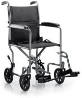 McKesson Ltwt. Transport Wheelchair Steel 19 W 250 lbs. Weight Capacity 146-TR39E-SV, 1 Ct
