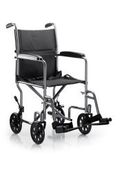 McKesson Drive Transport Chair Steel, Silver Vein Frame 250 lbs. Fixed Arms, Padded Black