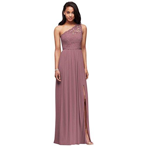 Long One Shoulder Lace Bridesmaid Dress Style F17063, Quartz, 4
