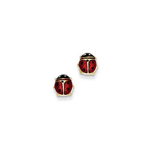 ICE CARATS 14kt Yellow Gold Enameled Ladybug Post Stud Earrings Animal Insect Fine Jewelry Ideal Gifts For Women Gift Set From Heart (Jewelry Earrings Gold Ladybug 14kt)