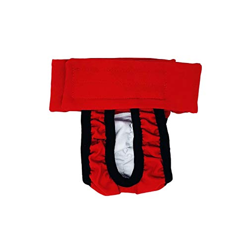 Barkertime Dog Diaper Made in USA - Cherry Red Washable Dog Diaper Pull-up, XS for Incontinence, Housetraining and Female Dogs in Heat - Allows for Defecating Outside ()