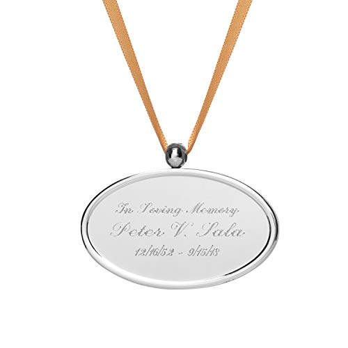 - Oval Engravable Pendant - Hanging plate medallion plaque for urns that can't be engraved - Includes smooth satin ribbon - Made in Brass - Silver Medallion Name Tag with ENGRAVING included