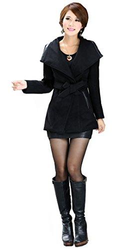 OUCHI Women Winter Wool Blend Lapel Collar Midi Trench Jacket Outwear Coat L Black