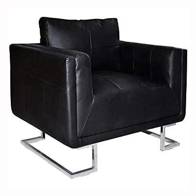 HomyDelight Arm Chair, Recliner & Sleeper Chair, Black Luxury Cube Armchair with Chrome Feet