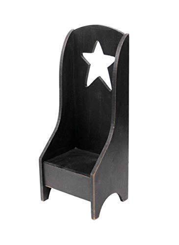 OBI Primitive Mini Wooden Chair - Candle Holder Country Home Decoration Mini Shelf - Black