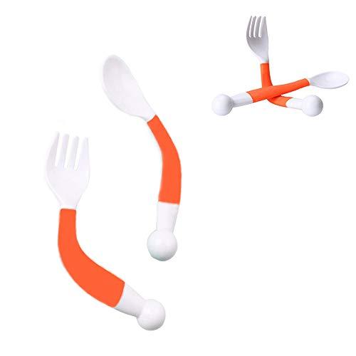 LK-WORLD Baby Fork and Spoon Set/Kids Infant Self Feeding Spoon Toddler Feeding Baby Utensils/Baby Feeding Spoon Fork Set Utensil Curved Handle Training, BPA free Kids Tableware (Orange)