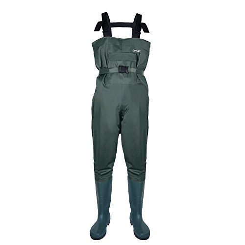 Goture Bootfoot Chest Fishing Wader Nylon and PVC Cleated sole for Men Hunting Waders Overalls Waterproof and Breathable with Belt (Size: 46)
