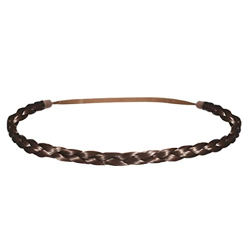 Mia Thin Braidie, Hair Accessory Headband Made of Synthetic Braided Hair on Elastic Rubberband, Classic, Pretty, Light Brown, For Women and Girls 1pc