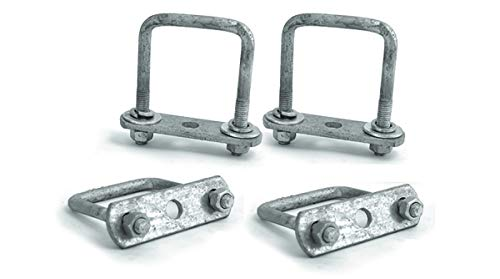(Sturdy Built Tandem Axle Galvanized U Bolt Kit for mounting Boat Trailer Leaf Springs for 2 inch Square axle - Diagonal)