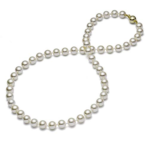 HinsonGayle AAA GEM 7.5-8mm White Round Freshwater Cultured Pearl Necklace (14K Yellow Gold )-18 in length