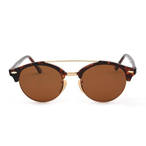Leopard Frame - Polarized Round Mirrored Sunglasses Semi Rimless Eyeglasses Men Women (Tortoise / Brown)