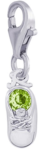 (Rembrandt Charms, August Baby Shoe with Clasp, Engravable.925 Sterling Silver)