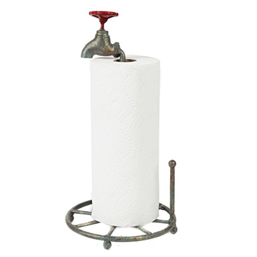 Lily's Home Vintage Rustic Kitchen Paper Towel Roll Holder, Country Design Crafted From an Old Spigot and is Ideal for Any Whimsical Décor Style, Holds Standard Size Rolls, Green Patina ()