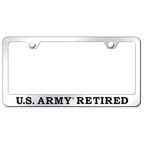 Au-Tomotive Gold, INC. USA U.S. Army Retired Engraved Chrome Frame Mirror Chrome License Plate Frame
