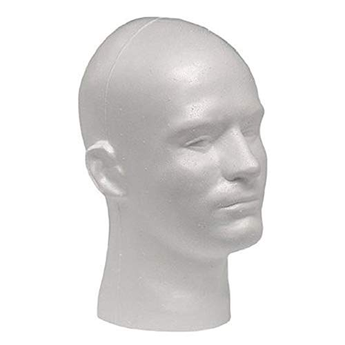 Male White Color Manikin Head Model Wig Glasses Stand Styrofoam Foam Mannequin Hat Display Stand