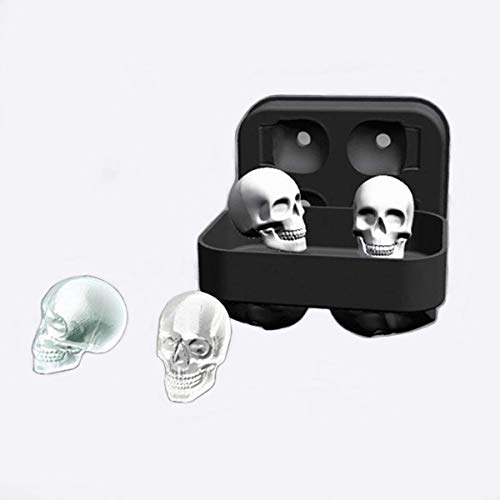(L & H Household 3D Skull Flexible Food Grade Silicone Ice Cube Molds Tray, Makes Four Skulls Molds for ICE Drink, Cake, Biscuits, Ice Cream, Chocolate, Jell etc.-Pack of)