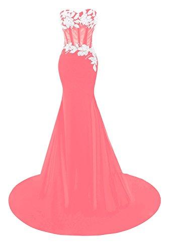 Dresses Prom Appliques Beaded Evening Women´s Watermelon Mermaid Bridal Bess vwH0Zn