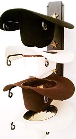 Mark Christopher Collection American Made Cowboy Hat Rack Black with Gold Stars