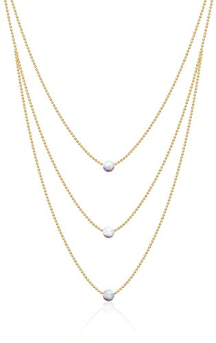Benevolence LA Opal Necklace Gold Choker - Platinum Sterling Silver White Fire Opal Pendant Necklaces Three Tiered 14k Opal 13 Inch Ball Chain (3 Tier Opal) Celeb-Approved