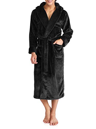 David Archy Men's Hooded Fleece Robe Ultra Soft Full Length Long Bathrobe (XL, Black)