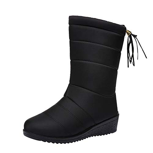 - Limsea Women Classic Shoes Round Toe Waterproof Ankle Solid Winter Warm Snow Boots 6.5 Black