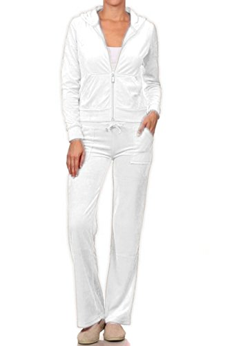 ViiViiKay Women's Soft Velour Tracksuit Athletic Zip Up Hoodie & Sweat Pants Set 001_White L (Jogging Suit Velour)