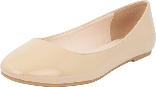 Cambridge Select Women's Classic Closed Round Toe Slip-On Ballet Flat (8 B(M) US, Dark Beige Patent PU) by Cambridge Select