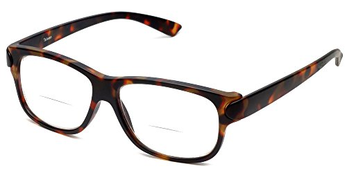 Calabria 4375CB Bi-Focal Reading Glasses w/ Matching Case in Brown - 1.25 Reading Glasses Bifocal
