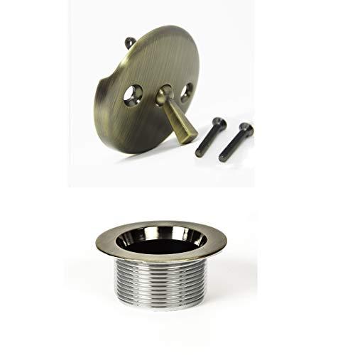 "PF WaterWorks PF0972-AB 1-1/2"" Trip Bath Tub Drain Trim Kit (Bathtub Strainer, Cover & Trip Lever Waste & Overflow Face Plate) -Coarse 11.5 Threads Per Inch, Antique Brass"