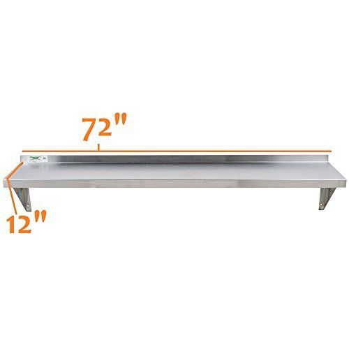 - Royal Industries Wall Shelf, 12'' x 72'', Stainless Steel
