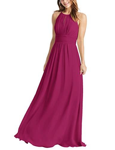 Jewel Neckline Dress - Women's Ruched Halter Chiffon Bridesmaid Dresses Long Jewel Neckline Formal Evening Gowns Fuchsia