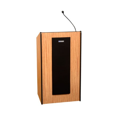 (AmpliVox Adjustable Wireless Presidential Plus Lectern With Sound System Medium Oak)