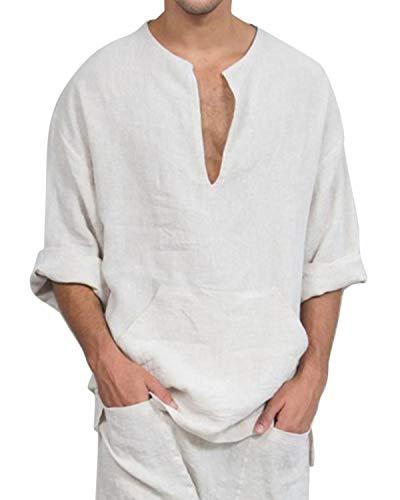 Jacansi Mens Beach Yoga Cotton Loose Tunic Summer Long Sleeve Shirts White M