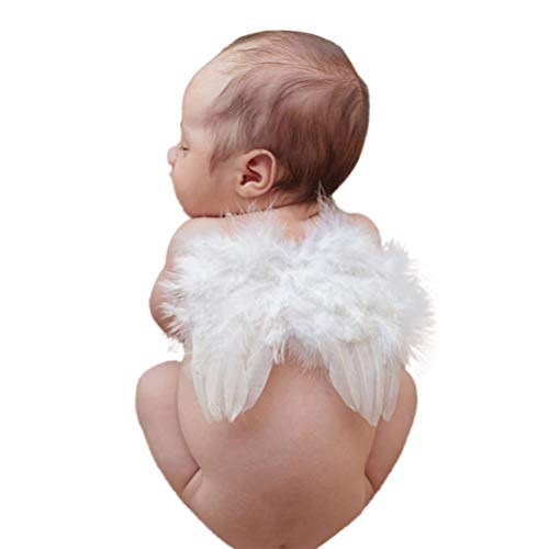 Infant Angel Wing Baby Angel Feather Wings Newborn Photography Photo Props Baby Photo Session 0-6 Months White BLUETOP ()