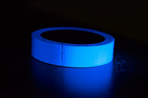 Glow-in-the-Dark Tape Blue 30 feet x 1 inch Luminous, Vibrant Color | Party, Games, Stage, and Decoration Use | Photoluminescent Adhesive Vinyl | (Vibrant Blue Vinyl)