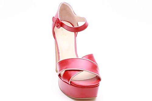 Scarpe italiane sandali donna tacco alto rosso