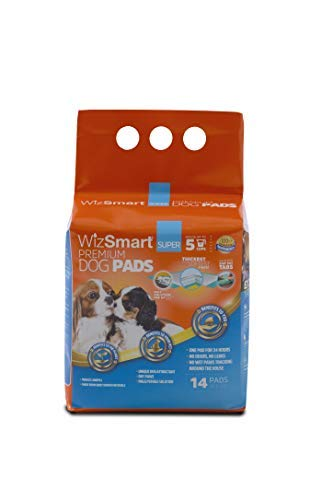 (WizSmart All Day Dry Premium Dog and Puppy Training Pads, Made with Recycled Unused Baby Diapers and Eco Friendly Materials, 5 Cup Super 14 Count)