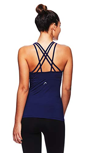 HEAD Women's Valiant Racerback Workout Tank Top w/Built in Shelf Sports Bra - Medieval Blue Matchup Bra Tank, Large