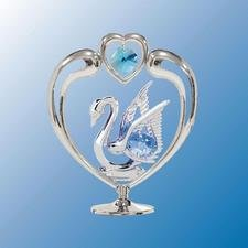 Swan In Heart Table Decor ..... With Blue Swarovski Austrian (14 Mascot Desk Lamp)
